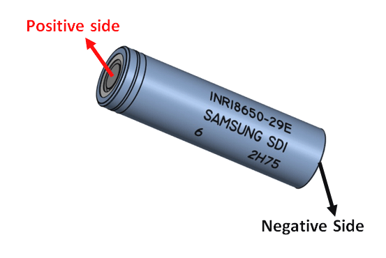 18650 Lithium Cell Positive and Negative Side