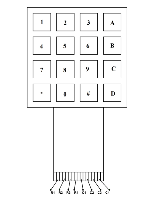 4x4 keypad module pinout  configuration  features  circuit