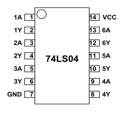 74LS04 Pinout, Features, Equivalent, Examples & Datasheet