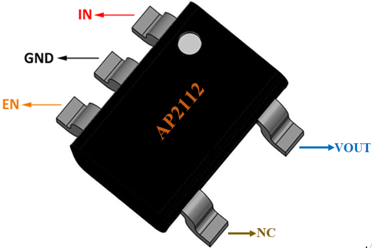 AP2112 CMOS LDO Regulator Pinout
