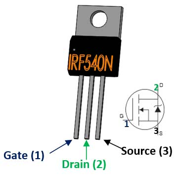 N-Channel MOSFET IRF540N Pinout
