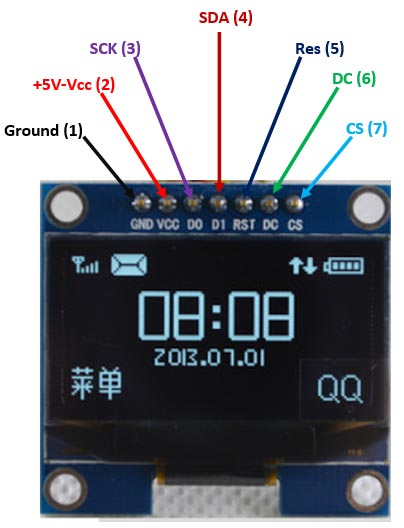 SSD1306 OLED display Pinout