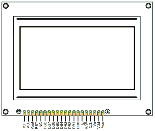 ST7290 Graphical LCD Pinout