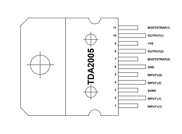 TDA2005 Amplifier Pinout