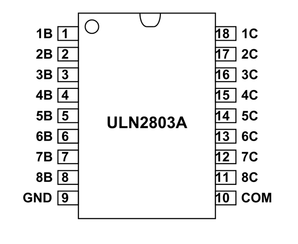 uln2803a ic pinout  equivalents  features  working  u0026 datasheet