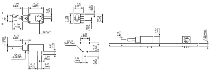 2D model and PCB mounting of 21000N series Toggle Switch