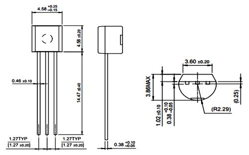 2N5551 NPN Amplifier Transistor 2D-model