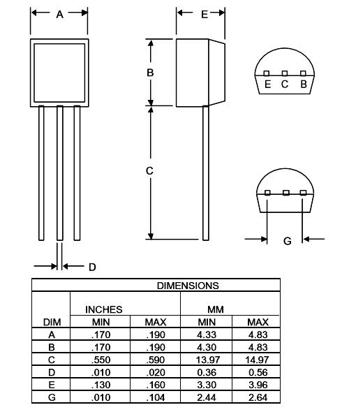 2SA1015 PNP Transistor 2D-model