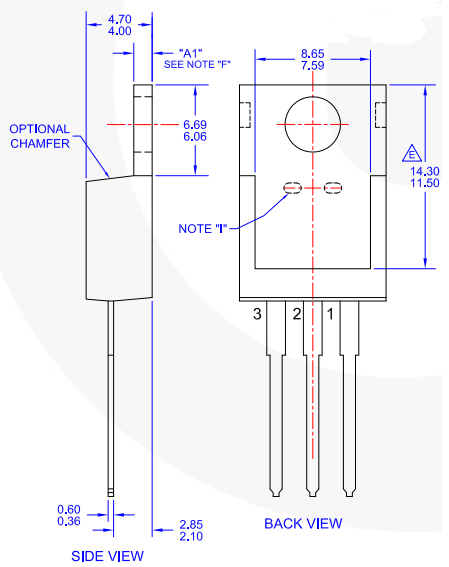2SC1061 NPN Power Transistor Dimension