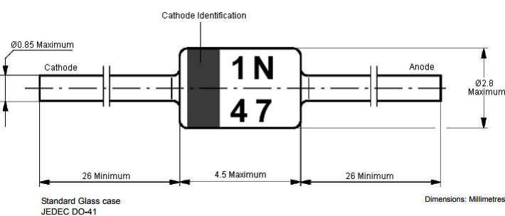 2d representation of 3.3V Zener Diode 1N47