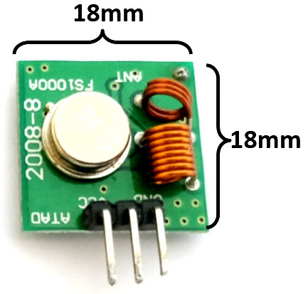 433 MHz RF Transmitter Module Dimensions