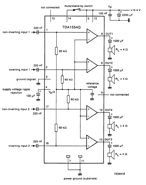 4x11 Watt Stereo Audio Power Amplifier Circuit