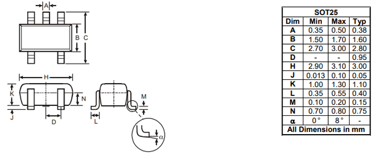AP2112 Regulator Dimensions