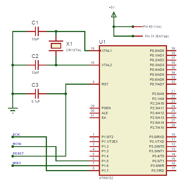 AT89S52 Microcontroller Circuit Diagram