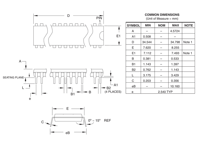 ATtiny88 Microcontroller DIP Dimensions