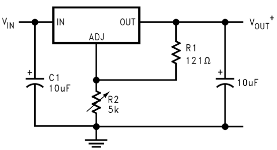 Adjustable type LM1084 Positive Regulator Connection