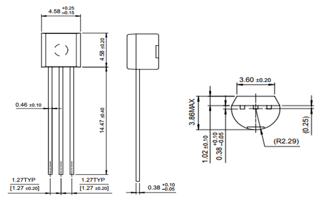 BC558 Transistor Dimensions