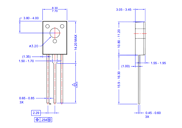 BD139 TO-225 Dimensions