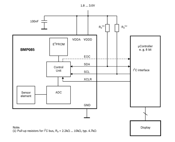 BMP085 Pressure sensor application circuit