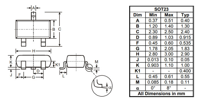 BSS123 Logic Level N Channel Mosfet 2-D Model