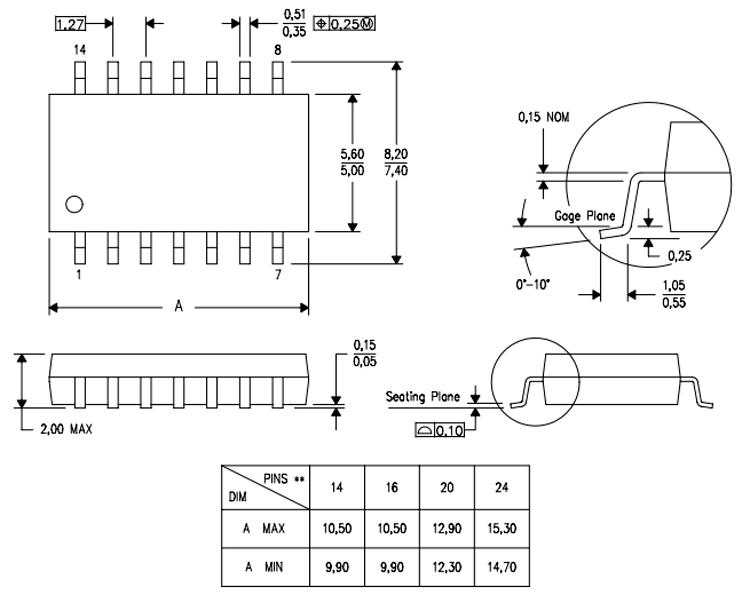 CD4011 Dimensions