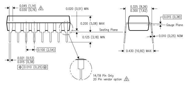 CD4026 Pins Dimensions
