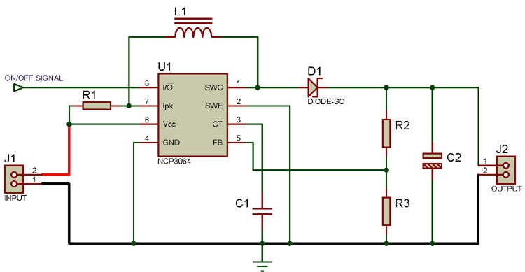 Circuit Diagram for Boost Converter Using NCP3064 DC-DC Converter
