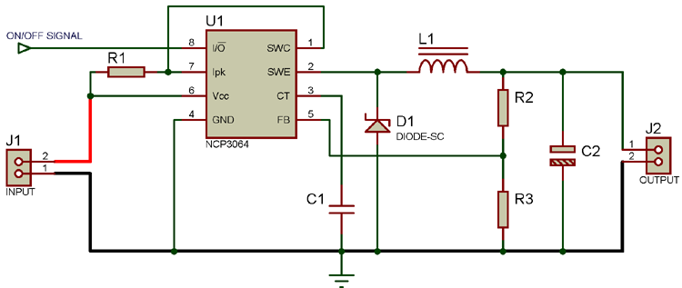 Circuit Diagram For Buck Converter Using NCP3064 DC-DC Converter