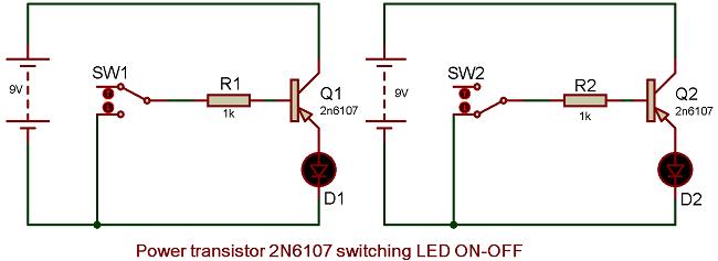 Switching Transistor Circuit Diagram | 2n6107 Transistor Pinout Specs Circuit Datasheet