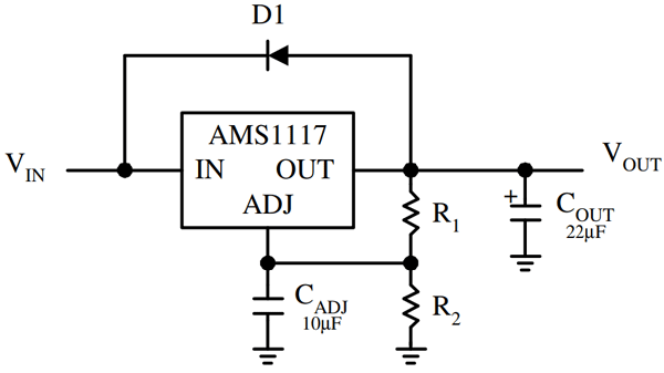 Circuit diagram for a variable output regulator