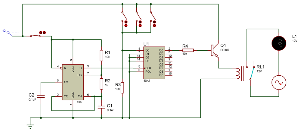 Circuit using 4042 IC