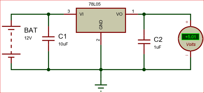 Circuit Using 78L05 Voltage Regulator