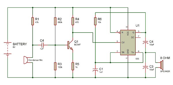 Circuit using 8 ohm speaker