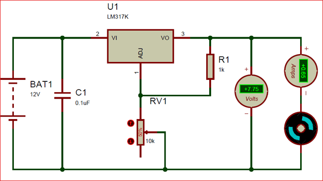Circuit using LM317 Variable voltage regulator