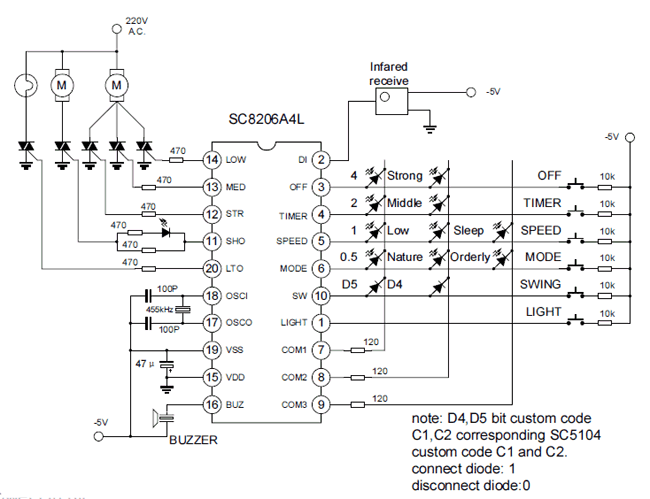 Circuit using SC8206 Remote Fan Control IC