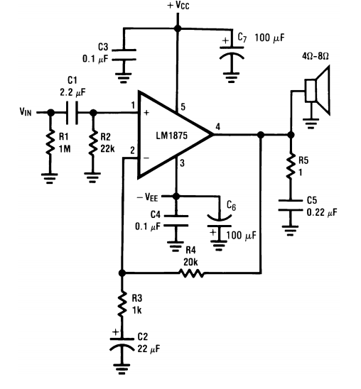 Circuit using TDA2050 32W Audio Power Amplifier