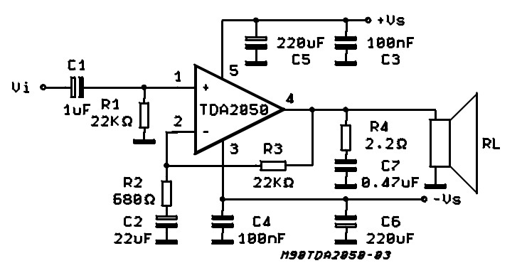 Tda2050 Audio Amplifier Ic Pinout  Datasheet  Features
