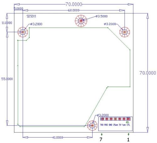 Dimensions of SDS011 Sensor