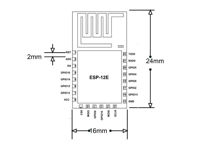 ESP12E - WiFi Module Pinout, Features & Datasheet