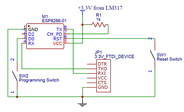 ESP8266 Pinout, Pin Configuration, Features, Example Circuit