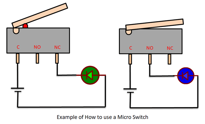 Micro Switch Pinout, Working, Specs & Datasheet | Two Prong Micro Switch Wiring Diagram |  | Components101