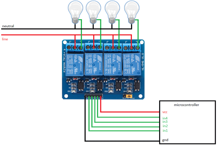 Four-Channel Relay Module Application Circuit
