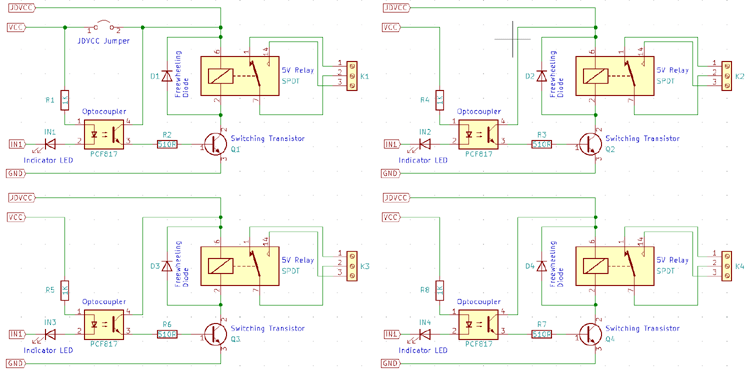 Four-Channel Relay Module Circuit Diagram