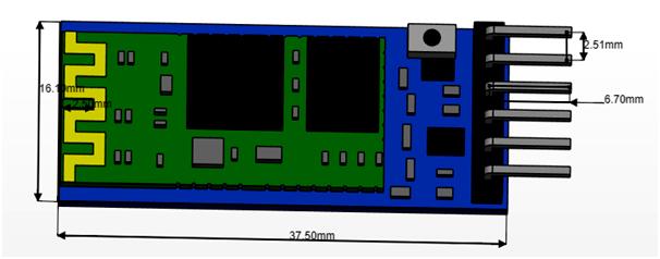 HC-05 Bluetooth Module Dimensions