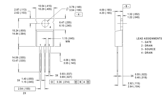 IRF1010E MOSFET Dimensions
