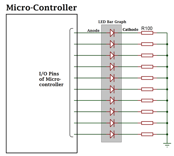 LED Bar Graph Connection with Micro-controller