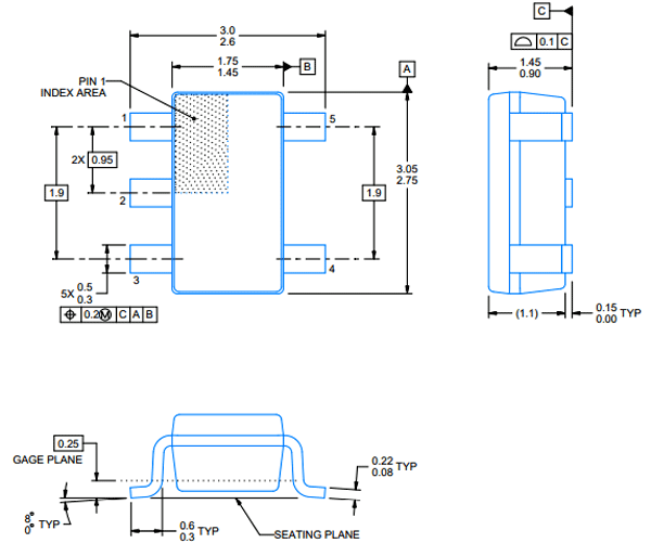 LM321 Op-Amp Dimensions