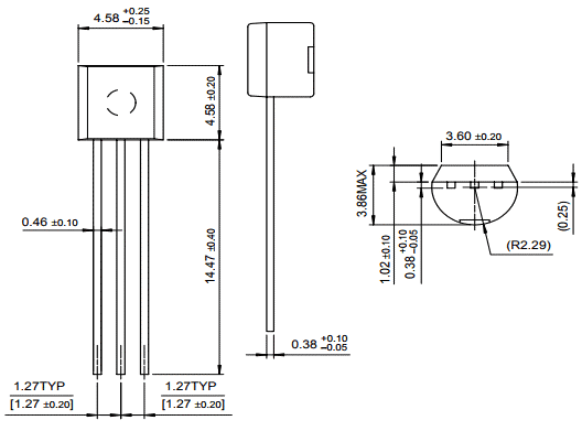 LM336 Reference Voltage Diode Dimensions