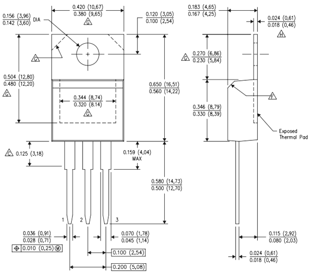 LM350T TO-220 Dimensions
