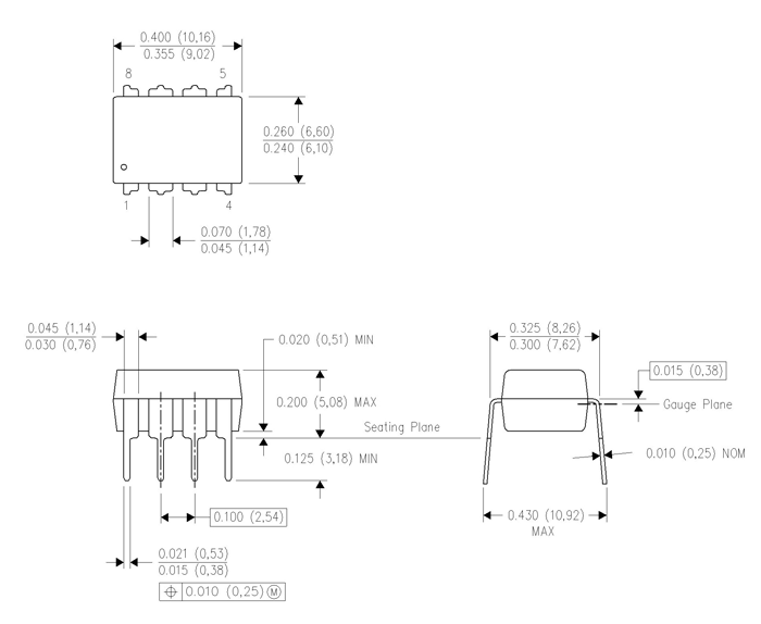 LM4558 IC Dimensions